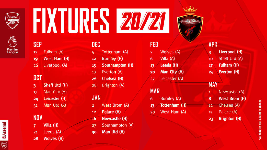 โปรแกรม พรีเมียร์ลีก อาร์เซน่อล ประจำฤดูกาล 2020/21